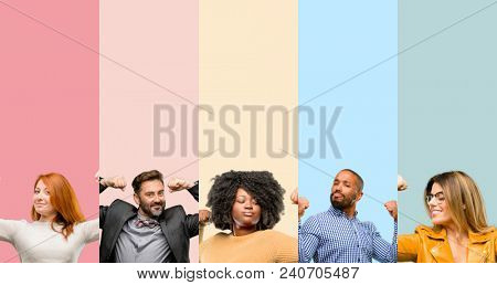 Cool group of people, woman and man showing biceps expressing strength and gym concept, healthy life its good