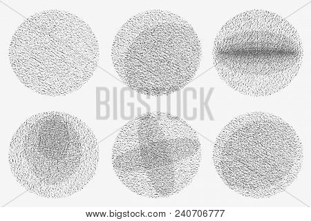 Set Of Grunge Circles. Damage Round Grunge Shape Silhouette. Circle Halftone Distressed Grunge Textu
