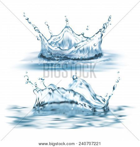 Vector 3d Realistic Set With Water Splashes, Abstract Shapes With Droplets, Liquid Crown, Clean And
