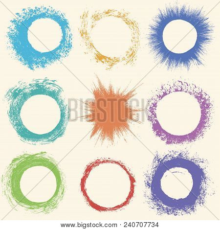 Set Of Grunge Circles. Damage Round Grunge Shape Silhouette. Circle  Distressed Grunge Texture. Text