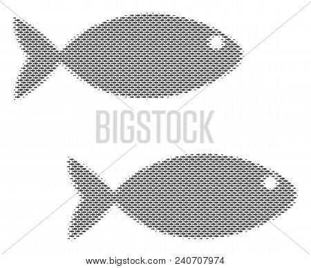 Fish Fish Pair Halftone Collage. Vector Fish Symbols Are United Into Fish Pair Mosaic. Seafood Desig