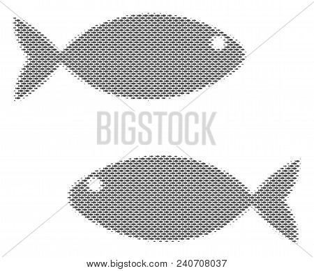 Fish Fish Pair Halftone Composition. Vector Fish Icons Are Organized Into Fish Pair Composition. Sea