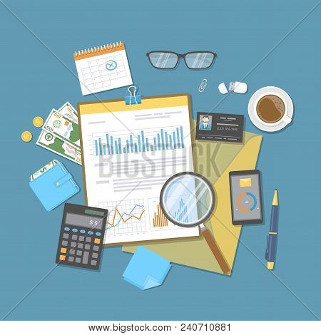 Financial Document With Graphs And Charts On Clipboard, Calculator, Glasses, Magnifier, Calendar, Mo