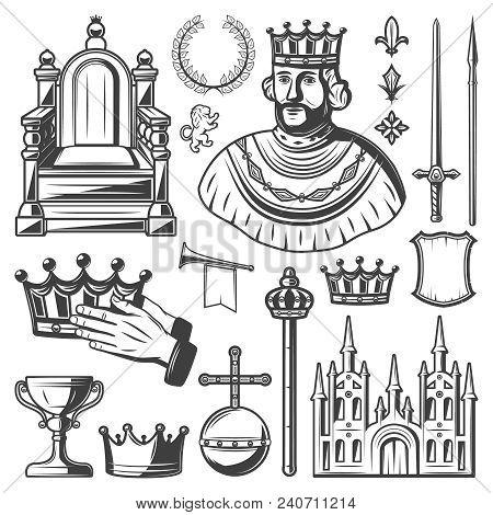 Vintage Royal Elements Set With King Throne Laurel Wreath Sword Lance Crown Trumpet Monarchy Orb Cas