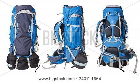 Different Views Of Blue Backpack For Hiking Isolated On White Background. Professional Backpack For