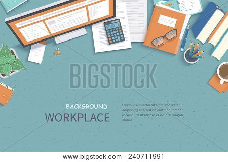 Business Workplace Desktop Background. Top View Of  Table, Monitor, Folder, Documents, Notepad, Plan