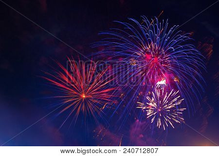 Celebration Multicolored Fireworks, Copy Space. 4 Of July, 4th Of July, Independence Day Beautiful F