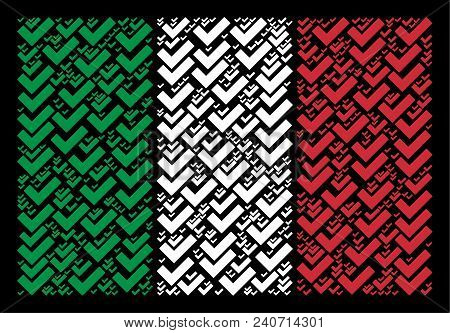 Italian National Flag Flat Concept Combined With Yes Icons On A Black Background. Vector Yes Pictogr