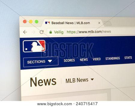 Amsterdam, Netherlands - May 15, 2018: Official Homepage Of Mlb.com, Major League Baseball Or Mlb, A
