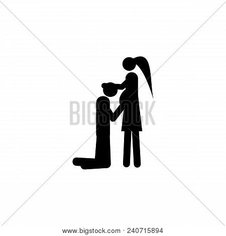 Couple In Anticipation Of Baby Icon. Element Of Life Married People Illustration. Premium Quality Gr
