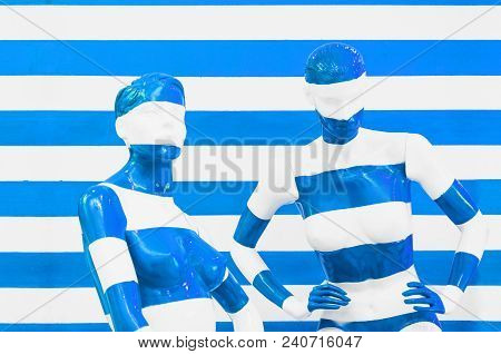 Art Mannequin Red And White Stripes, On Striped With Blue And White Stripes. Disguise