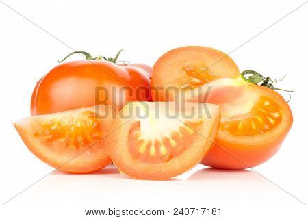 Sliced Red Tomato Set One Whole One Half And Two Slices Isolated On White Background
