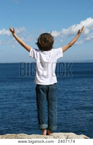 child arms up in praise or faith. happy summer vacation poster