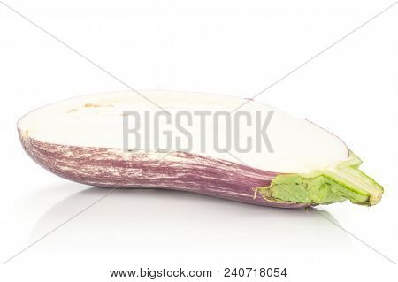 One Striped Purple Eggplant Section Half Isolated On White Background