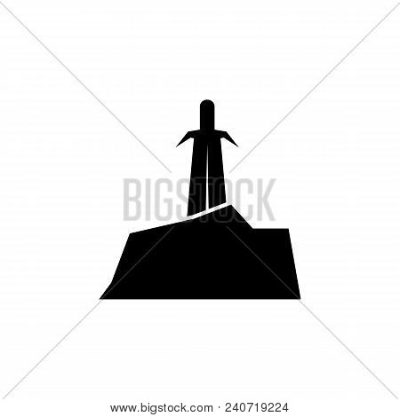 Sword In Stone Silhouette. Element Of Fairy-tale Heroes Illustration. Premium Quality Graphic Design