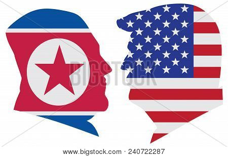 May 14, 2018: Us President Donald Trump And Kim Jong Un Silhouettes With United States America  And