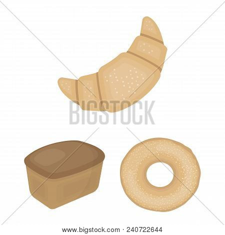 Types Of Bread Cartoon Icons In Set Collection For Design. Bakery Products Vector Symbol Stock  Illu