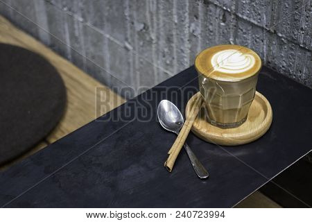 Cup Of Piccolo Latte Coffee With Latte Art, Stock Photo