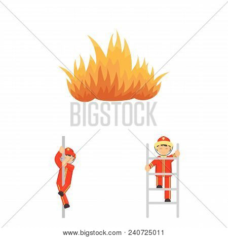 Fire Department Cartoon Icons In Set Collection For Design. Firefighters And Equipment Vector Symbol