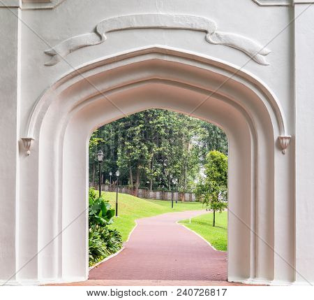 Ancient Singapore Gothic Gate In Fort Canning Park