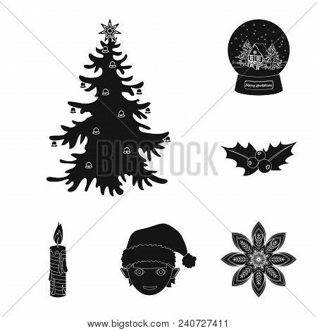Christmas Attributes And Accessories Black Icons In Set Collection For Design. Merry Christmas Vecto