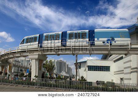 Ashgabat, Turkmenistan, September 26, 2017:  Modern Architecture Of Ashgabat With  Monorail. Ashgaba