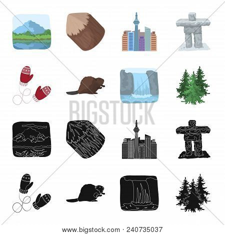 Canadian Fir, Beaver And Other Symbols Of Canada.canada Set Collection Icons In Black, Cartoon Style