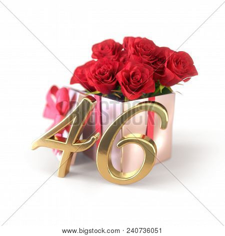 Birthday Concept With Red Roses In Gift Isolated On White Background. 3d Render - Forty-sixth Birthd