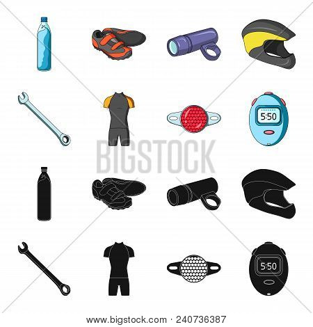 A Wrench, A Bicyclist Bone, A Reflector, A Timer.cyclist Outfit Set Collection Icons In Black, Carto