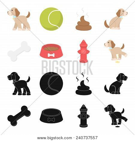 A Bone, A Fire Hydrant, A Bowl Of Food, A Pissing Dog.dog Set Collection Icons In Black, Cartoon Sty