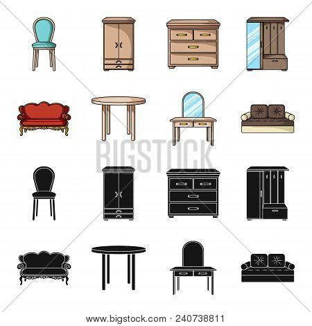 Sofa, Armchair, Table, Mirror .furniture And Home Interiorset Collection Icons In Black, Cartoon Sty
