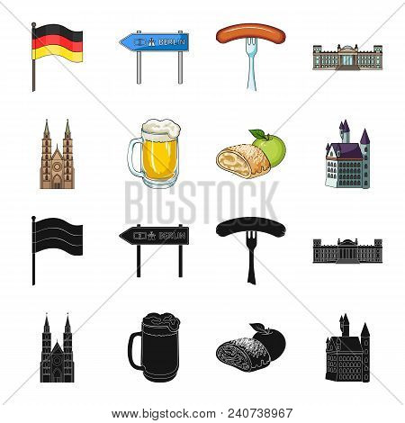 Country Germany Black, Cartoon Icons In Set Collection For Design. Germany And Landmark Vector Symbo