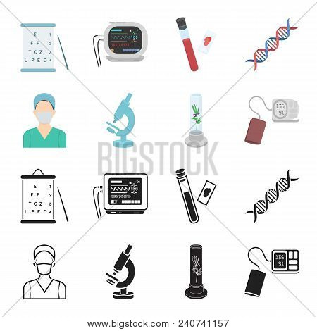 Plant In Vitro, Nurse, Microscope, Tonometer. Medicine Set Collection Icons In Black, Cartoon Style