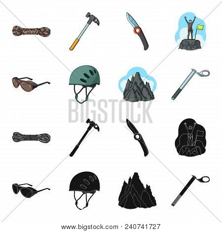 Helmet, Goggles, Wedge Safety, Peaks In The Clouds.mountaineering Set Collection Icons In Black, Car