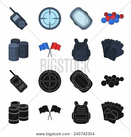 Protective Vest, Gloves And Other Equipment. Paintball Single Icon In Black, Cartoon Style Vector Sy