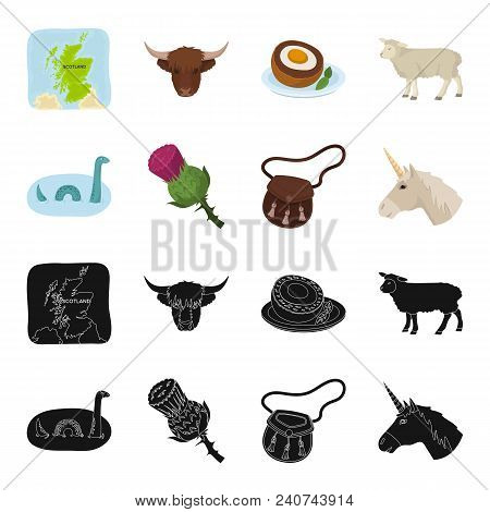 Loch Ness Monster, Thistle Flower, Unicorn, Sporan. Scotland Country Set Collection Icons In Black,