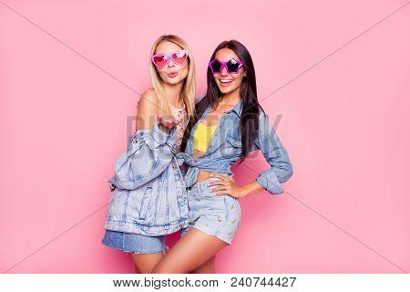 I Like You! Beautiful Playful Cheerful Women Dressed In Fashionable Stylish Shorts, Shirt, Jacket, T