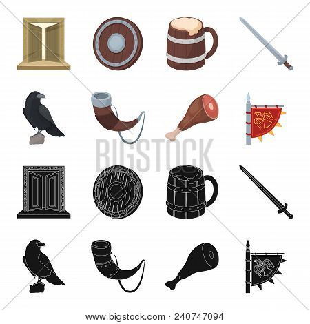 Sitting Crow, Horn With Drink, Ham, Victory Flag. Vikings Set Collection Icons In Black, Cartoon Sty