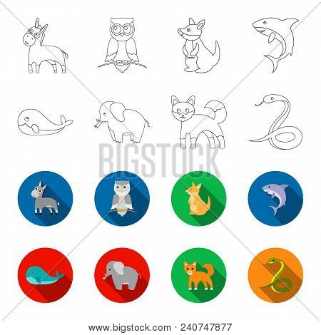 Whale, Elephant, Snake, Fox.animal Set Collection Icons In Outline, Flat Style Vector Symbol Stock I