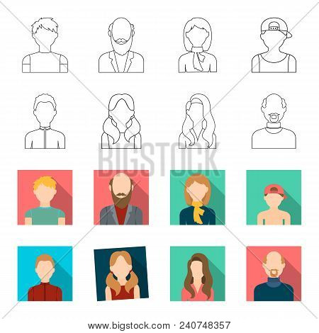 Boy Blond, Bald Man, Girl With Tails, Woman.avatar Set Collection Icons In Outline, Flat Style Vecto