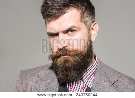 Pensive Man In Retro Clothes. Vintage Fashion - Man In Suit, Shirt, Waistcoat. Bearded Man In Stylis
