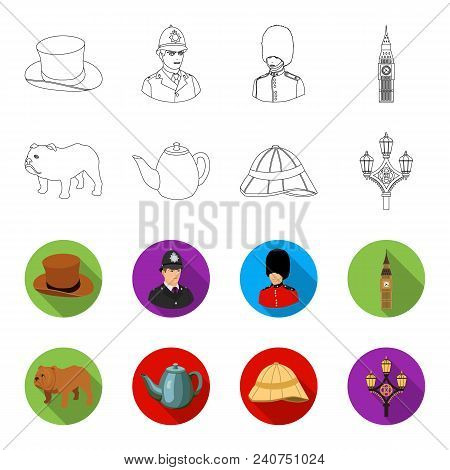 Breed Dog, Teapot, Brewer .england Country Set Collection Icons In Outline, Flat Style Vector Symbol