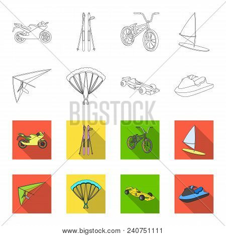 Hang Glider, Parachute, Racing Car, Water Scooter.extreme Sport Set Collection Icons In Outline, Fla