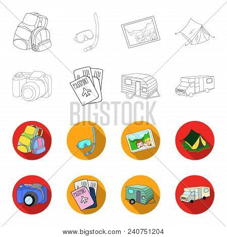 Vacation, Photo, Camera, Passport .family Holiday Set Collection Icons In Outline, Flat Style Vector