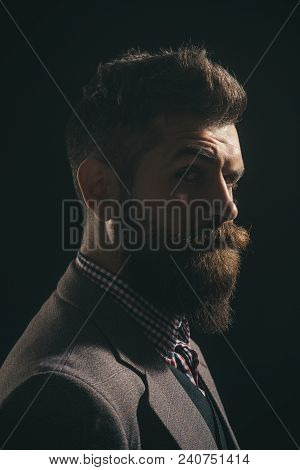 Silhouette Of Bearded Man. Barber Shop. Fashionable Bearded Men. Pensive Man In Retro Clothes. Vinta