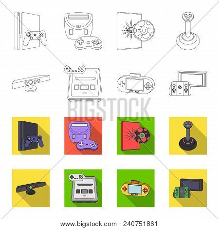Game And Tv Set-top Box Outline, Flat Icons In Set Collection For Design.game Gadgets Vector Symbol
