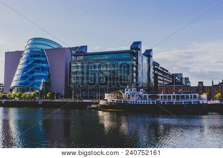 Dublin, Ireland - May 12th, 2018 View Of The Convention Centre In Dublin As Seen From Across The Riv