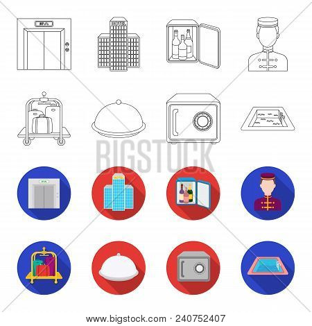 Trolley With Luggage, Safe, Swimming Pool, Clutch.hotel Set Collection Icons In Outline, Flat Style