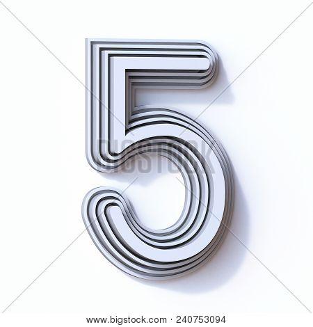 Three Steps Font Number 5 Five 3d Render Illustration