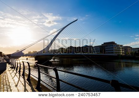 Dublin, Ireland - May 12th, 2018: The Samuel Beckett Bridge Over The River Liffey In Dublin Dockland